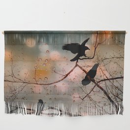 Rainy Day Crows Wall Hanging