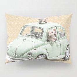 Road Pig on Yellow Pillow Sham