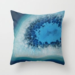 Agate Crystal Blue Throw Pillow