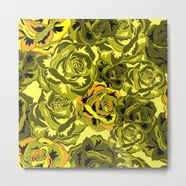 Vibrant  Green Rose floral texture Metal Print