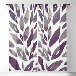 Watercolor floral petals - purple and grey Blackout Curtain