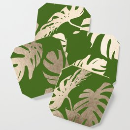 Palm Leaves White Gold Sands on Jungle Green Coaster