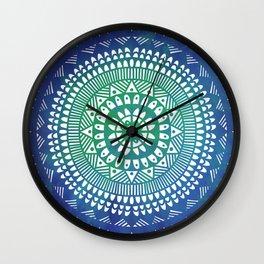 Mandala in blue watercolor Wall Clock