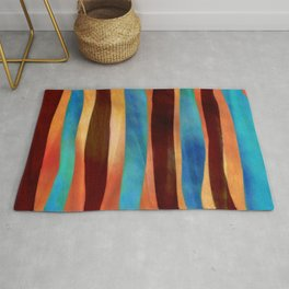 Blue bronze abstract stripes Rug
