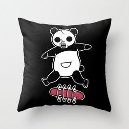 Rad Skull Panda Throw Pillow