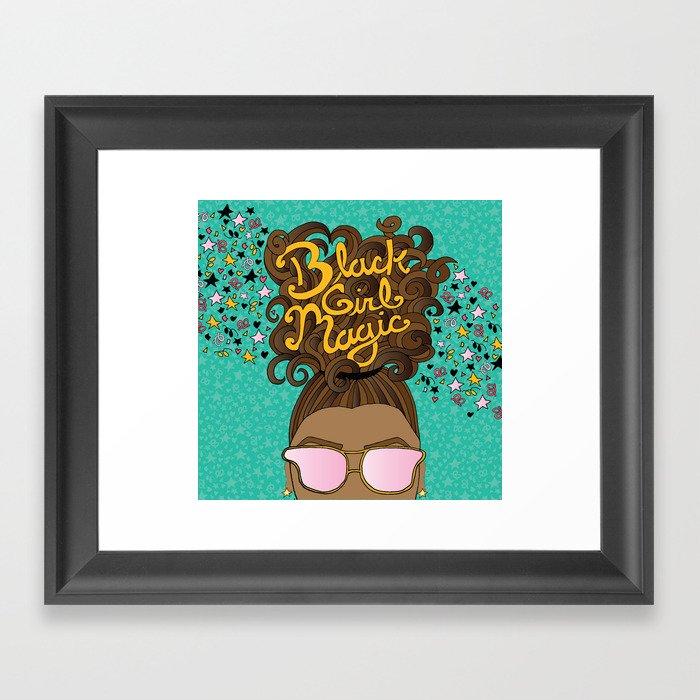 Black Girl Magic Teal Gerahmter Kunstdruck