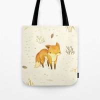 winter Tote Bags featuring Lonely Winter Fox by Teagan White