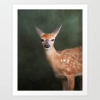 fawn Art Prints featuring Fawn by Jai Johnson