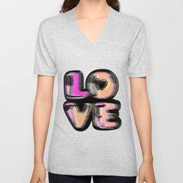 Glitch #love #gimp #typography #lettering #buyart #society6 Unisex V-Neck
