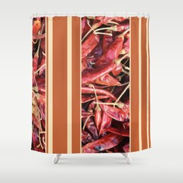 Chillies stripe pattern design orange Shower Curtain
