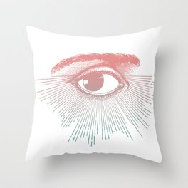 I See You. Pink Turquoise Gradient Sunburst Throw Pillow