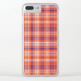 Varsity plaid purple orange and white clemson sports college football universities Clear iPhone Case