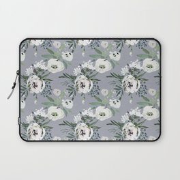 Hand painted modern gray white watercolor floral Laptop Sleeve
