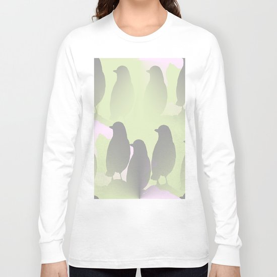 Spring mood - singing birds on a green pink background Long Sleeve T-shirt