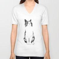 monty python V-neck T-shirts featuring Monty the cat by Anna Johansen