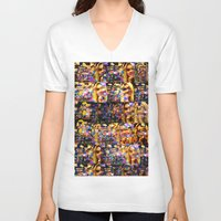 lindsay lohan V-neck T-shirts featuring Lindsay-Alice-Court-Glitch by Peter Marsh