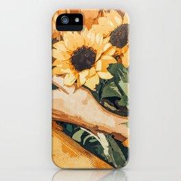 Holding Sunflowers #society6 #illustration #nature #painting iPhone Case