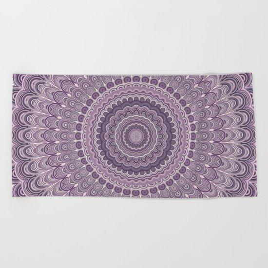 Purple feather mandala Beach Towel