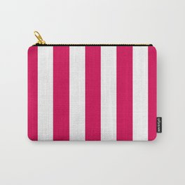 UA red fuchsia - solid color - white vertical lines pattern Carry-All Pouch