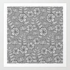Kenia flowers in grey Art Print