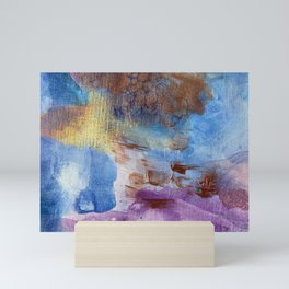 Sandman Cave: Copper, Blue, Purple and Gold Abstract Painting Mini Art Print