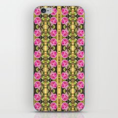 Pink roses with golden stripes pattern iPhone Skin