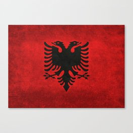 National flag of Albania with Vintage textures Canvas Print