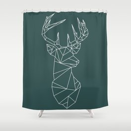 Geometric Stag (White on Slate) Shower Curtain