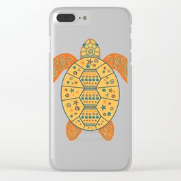 Sea Turtle - Gold and Blue Clear iPhone Case