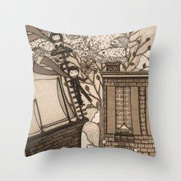 Adventure (in sepia) Throw Pillow