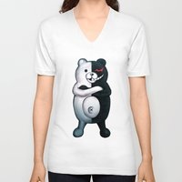 dangan ronpa V-neck T-shirts featuring Monobear by Prince Of Darkness