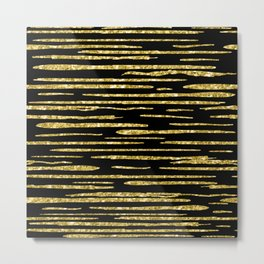 Abstract Gold Glitter Lines Pattern Metal Print