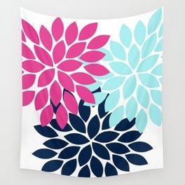 Navy Pink Aqua Flower Burst Petal Floral Wall Tapestry