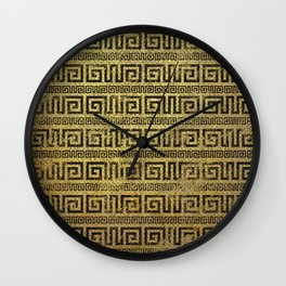 Vintage Gold  Greek Meander Pattern Wall Clock