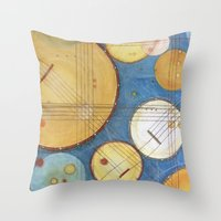 kandinsky Throw Pillows featuring doodling banjos by Beth Jorgensen
