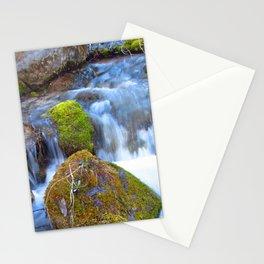 Mossy Rock Falls Montana Whitewater Woodlands Waterfall Green Moss Stationery Cards