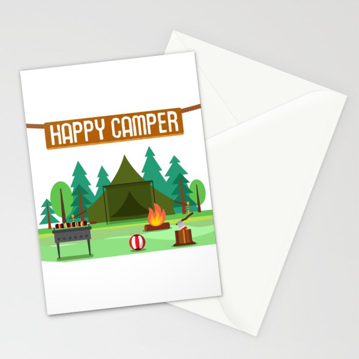 Camping Christmas Cards.Happy Camper Camping Stationery Cards By Merchmojo