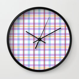 Gridlines of purple, blue and red on white Wall Clock