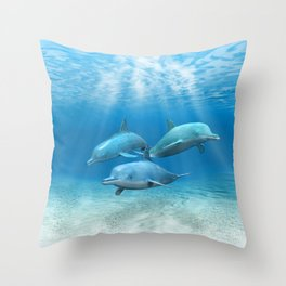 Pod Of Swimming Dolphins Throw Pillow