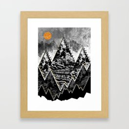 The small sun over the grey mountains Framed Art Print