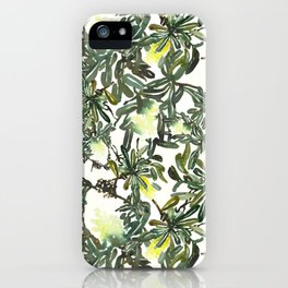 lemon color banksia pattren design iPhone Case