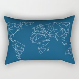 geo world map indigo blue Rectangular Pillow