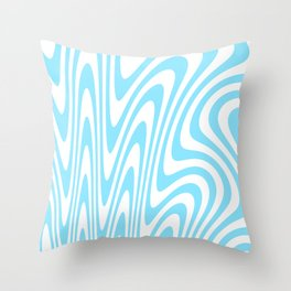Cyan Squiggles Throw Pillow