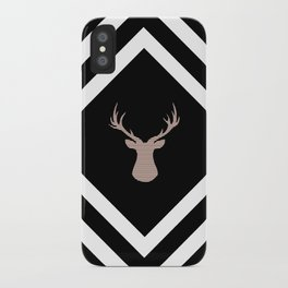 Abstract geometric pattern - Deer - black, brown and white. iPhone Case