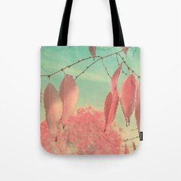 Flamingo Pink Autumn Leaves Tote Bag