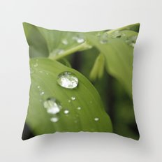 Green Leaves After Rain Throw Pillow