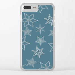 Silver Snowflakes On Teal Background Clear iPhone Case