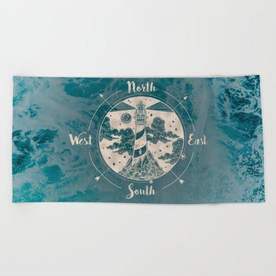 Lighthouse Compass Ocean Waves Gold Beach Towel