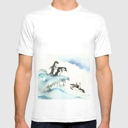 Jumping Penguins - Watercolor T-shirt