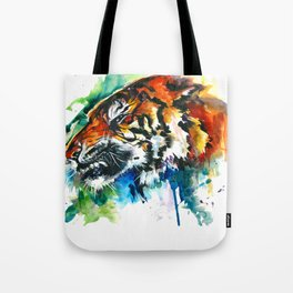 Orange Mad Tiger Watercolor Tote Bag